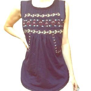 Boho embroidered tunic top